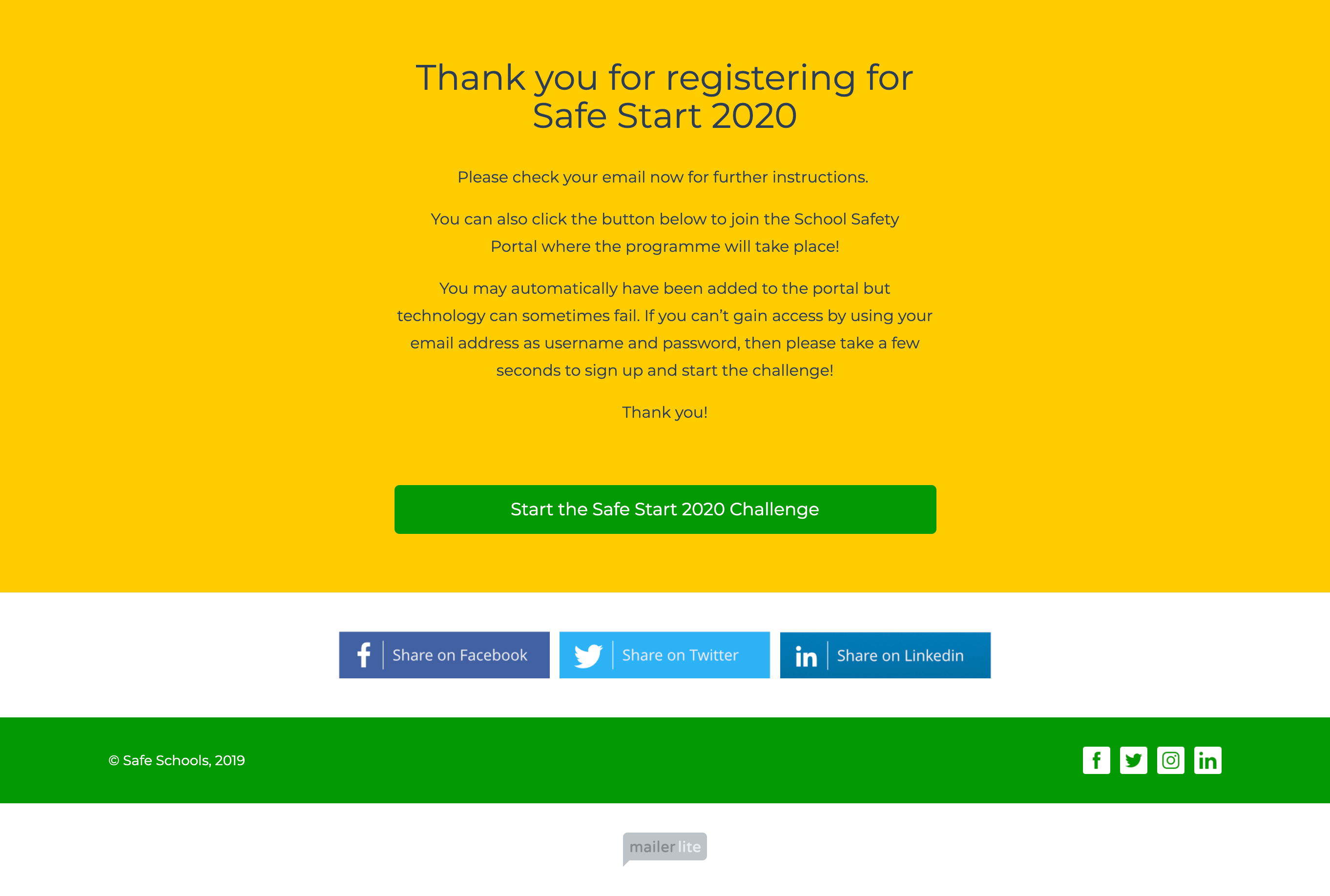 registration thank you page